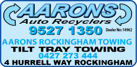 *Aarons Auto Recyclers - Phone 9527 1350 - Scrap Metal Rockingham