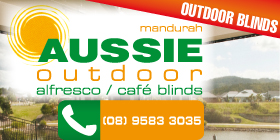 *Aussie Outdoor Alfresco / Café Blinds - Phone 9583 3035 - Outdoor Blinds Mandurah