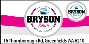 BRYSON BLINDS - EXCELLENT PRICES ZIPTRAK BLINDS TO SUIT ALL BUDGETS -  LOCALLY MADE & INSTALLED BY QUALIFIED BRYSON TECHNICIANS