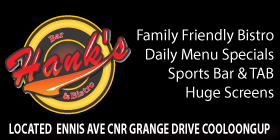 HANKS BAR & BISTRO - WE ARE FULLY OPEN 10AM-LATE BISTRO SPORTS BAR & TAB DRIVE THRU BOTTLESHOP BOOKINGS RECOMMENDED WALK-INS WELCOME - TAKEWAY ORDERS WELCOME