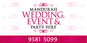 *Rockingham Wedding & Event Hire - Party Hire Rockingham - Ph 9527 6060