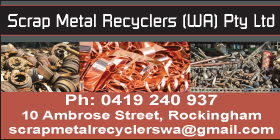*Scrap Metal Recyclers (WA) Pty Ltd - Phone 0419 240 937 Rockingham